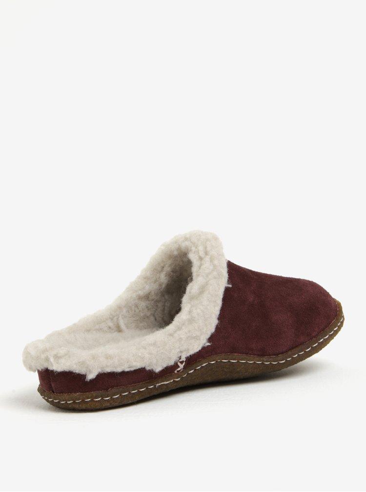 Vínové dámské semišové papuče s umělým kožíškem SOREL