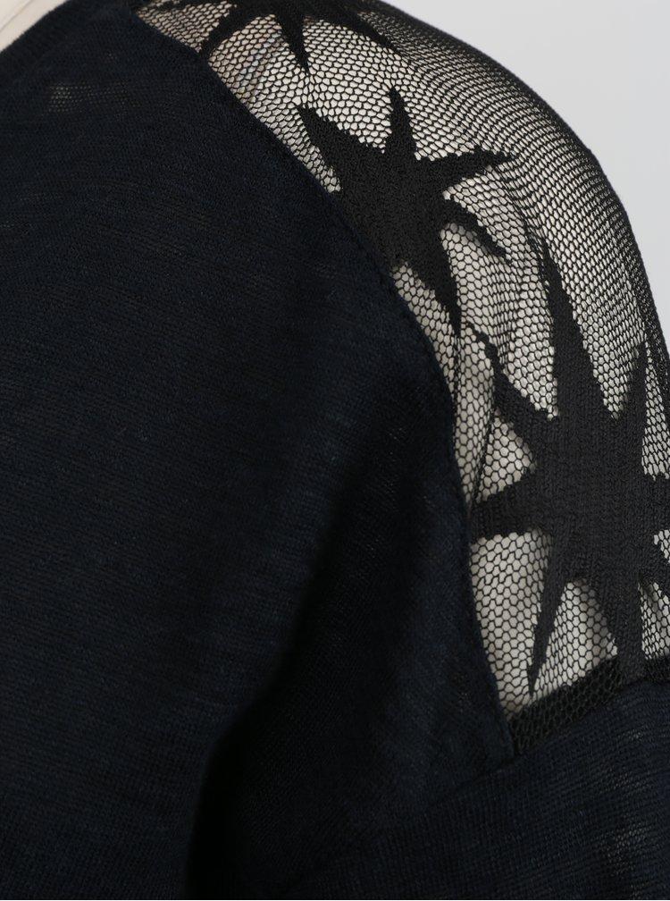 Černý top s tylovou částí na zádech  Rich & Royal