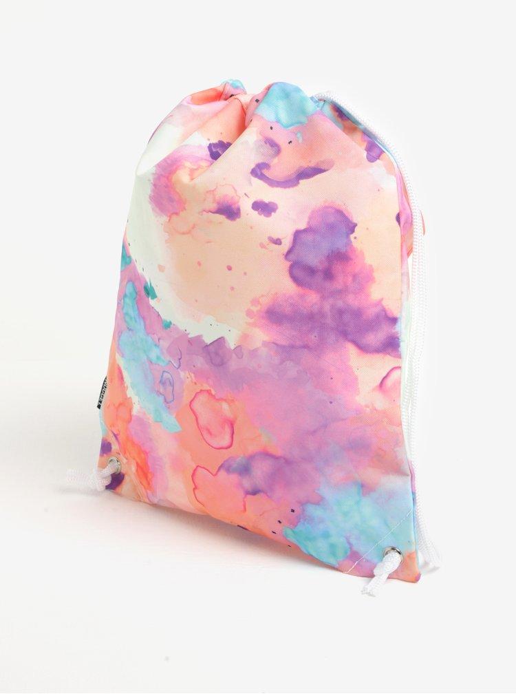 Rucsac roz & oranj cu print abstract si logo pentru femei - NUGGET Hype 2