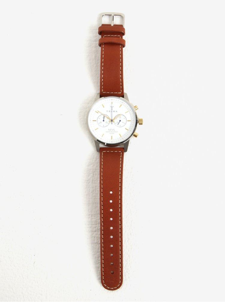 Unisex hodinky ve stříbrné barvě s hnědým koženým páskem TRIWA Snow Nevil