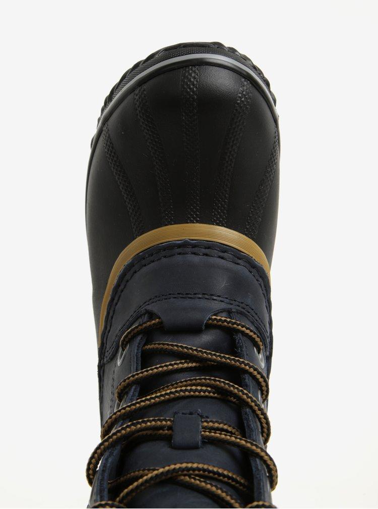 Modré dámské kotníkové kožené voděodolné zimní boty na nízkém podpatku  SOREL