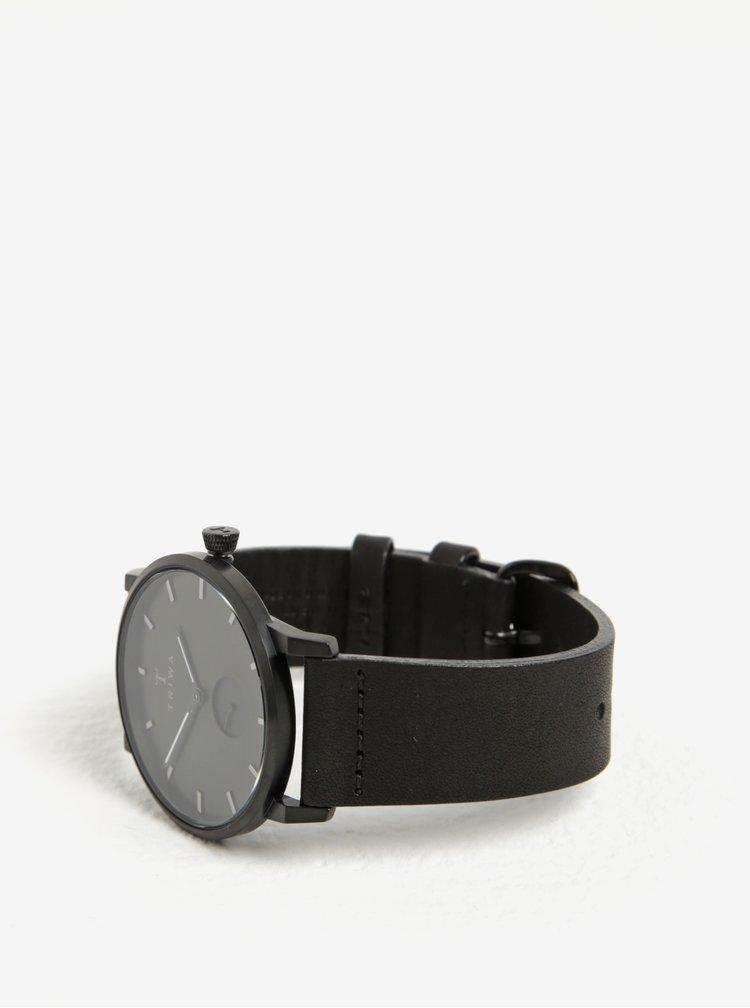Unisex hodinky v černé barvě s černým koženým páskem TRIWA Midnight Falken