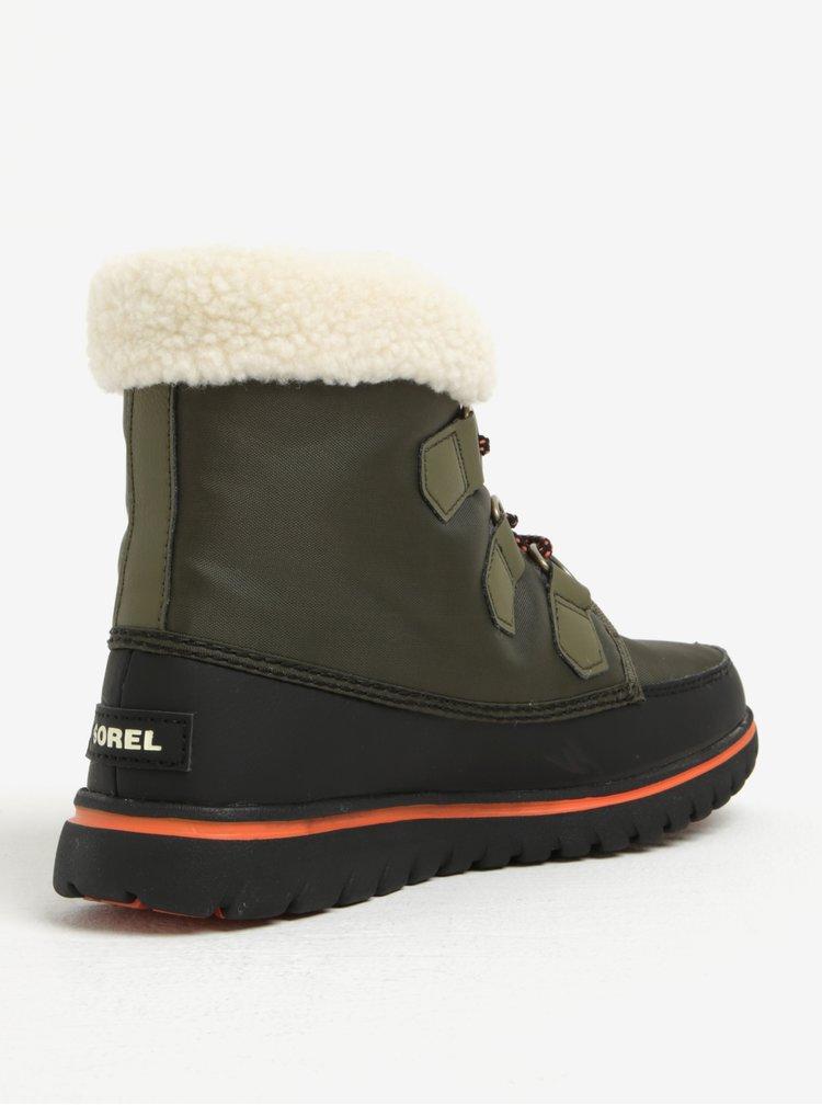 Khaki dámské kotníkové voděodolné zimní boty s umělým kožíškem SOREL