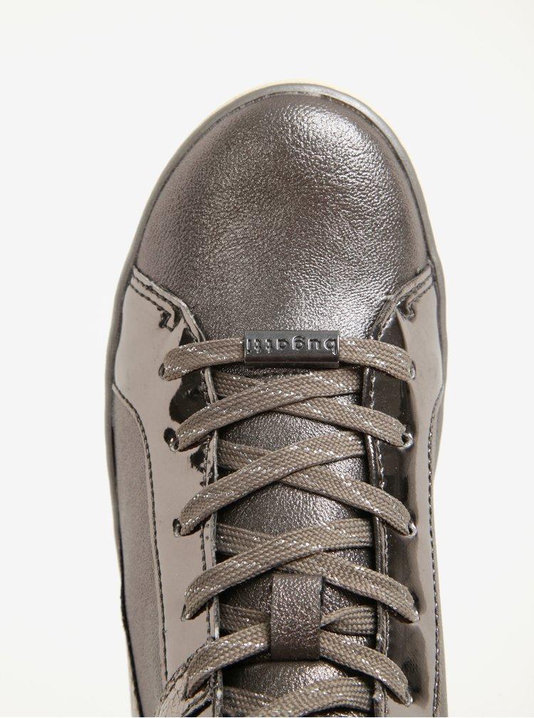 Dámské kotníkové tenisky ve stříbrné barvě s lesklými detaily bugatti Fergie