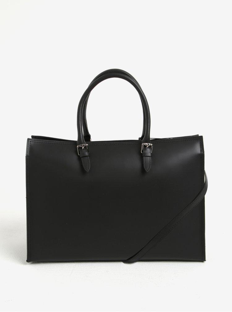 Černá dámská kožená kabelka do ruky KARA