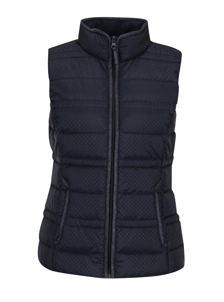 Tmavě modrá dámská prošívaná péřová vesta se vzorem s.Oliver