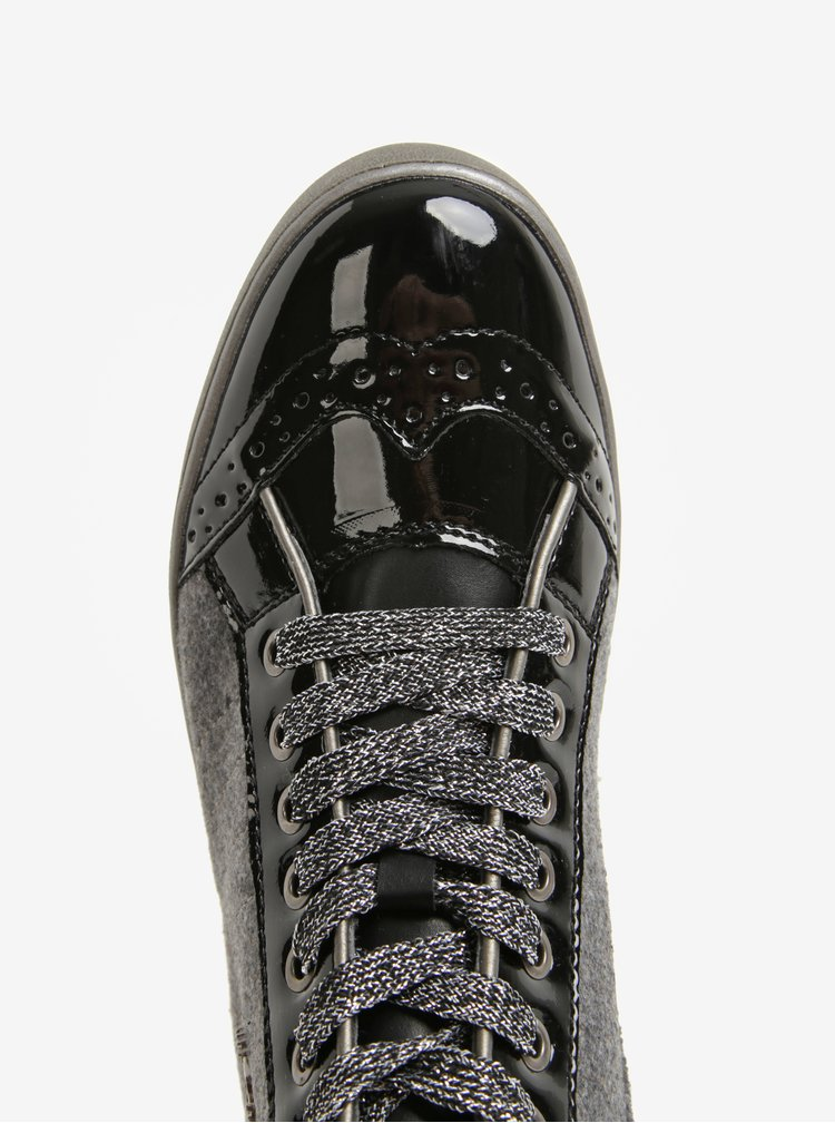 Tenisi inalti negru&gri cu detalii glossy pentru femei - bugatti Fergie