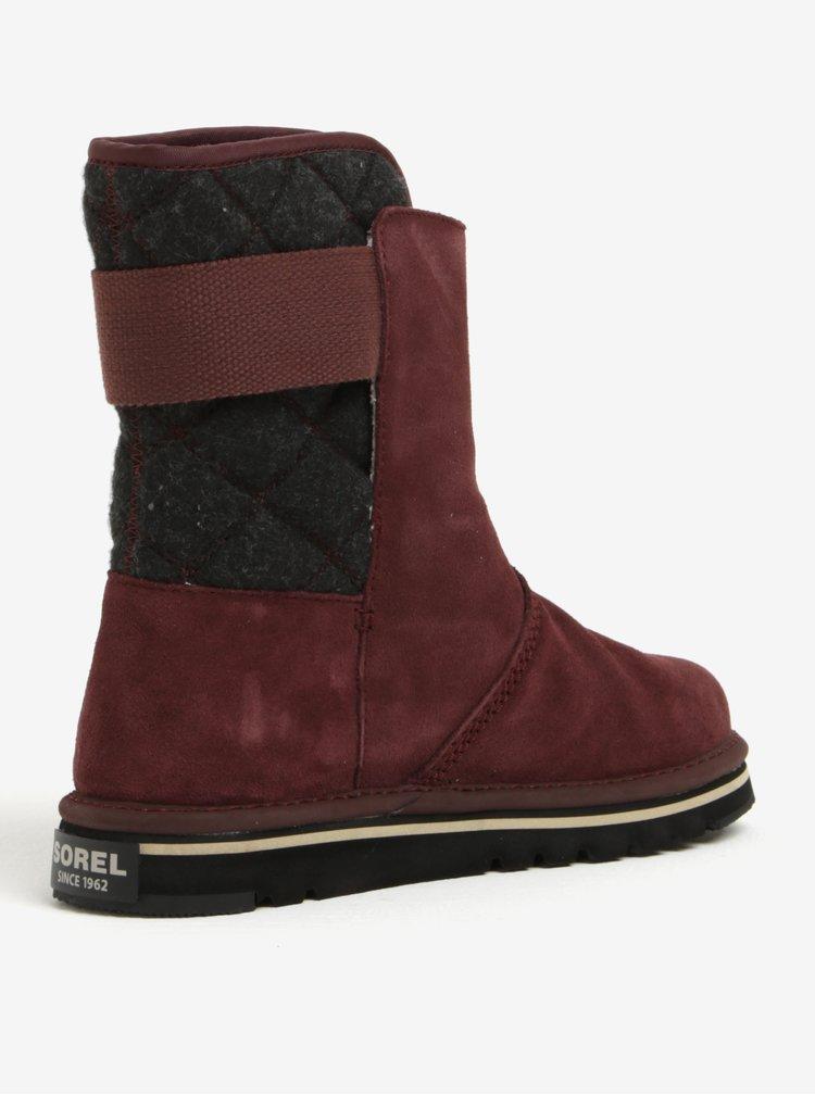 Vínové semišové kotníkové voděodolné zimní boty SOREL Newbie