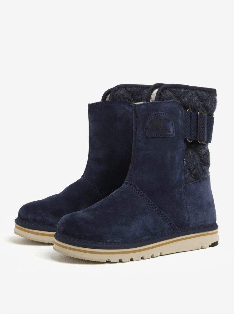 Modré semišové kotníkové voděodolné zimní boty SOREL Newbie