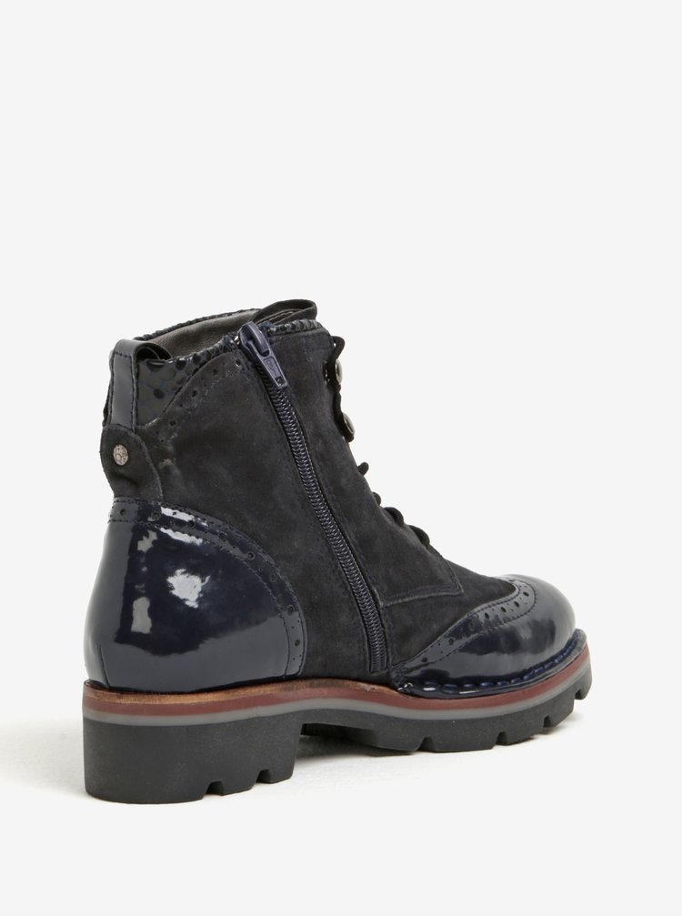 Černé kožené kotníkové boty s lesklými detaily bugatti Gesa