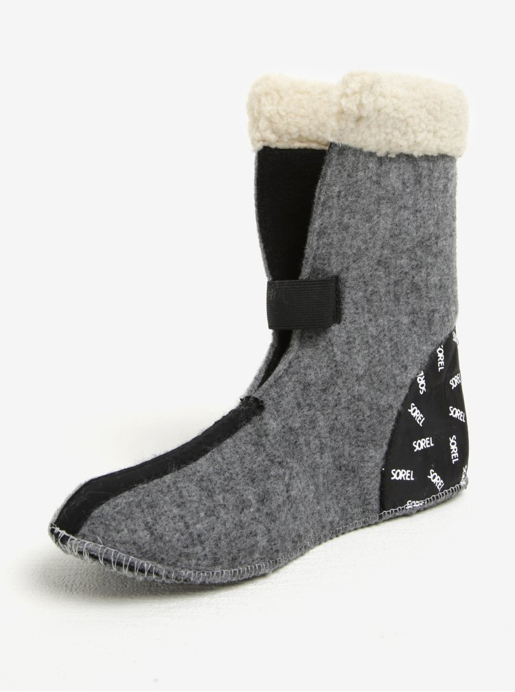 Tmavě šedé dámské kožené voděodolné zimní boty s umělým kožíškem SOREL