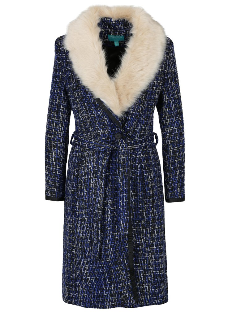 Modro-černý vzorovaný kabát s umělým kožíškem Fever London Enid