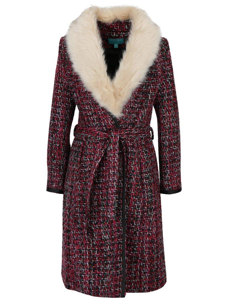 Růžovo-černý vzorovaný kabát s umělým kožíškem Fever London Enid