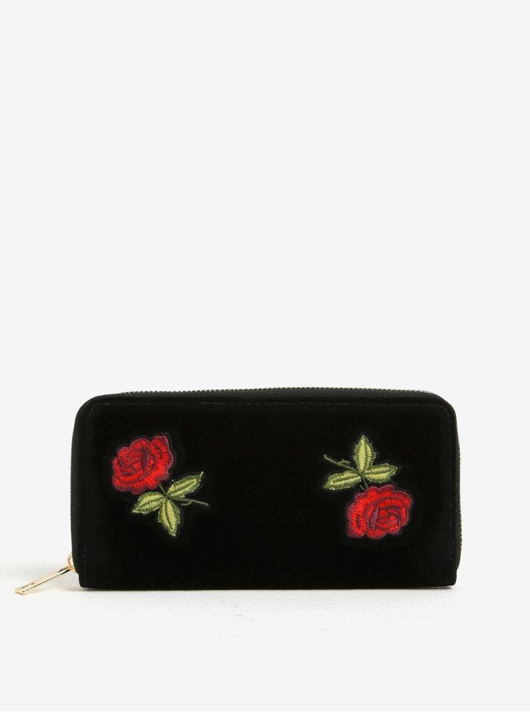 Černá sametová peněženka s růžemi Haily´s Roses
