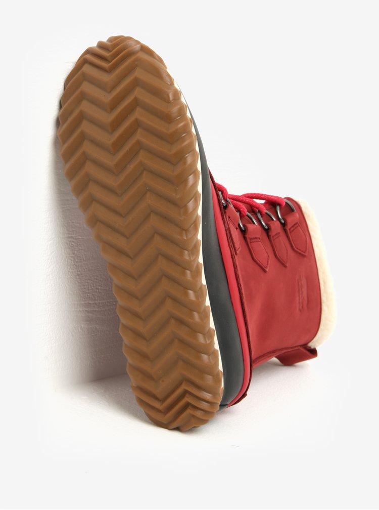 Červené dámské kožené voděodolné zimní boty s umělým kožíškem SOREL