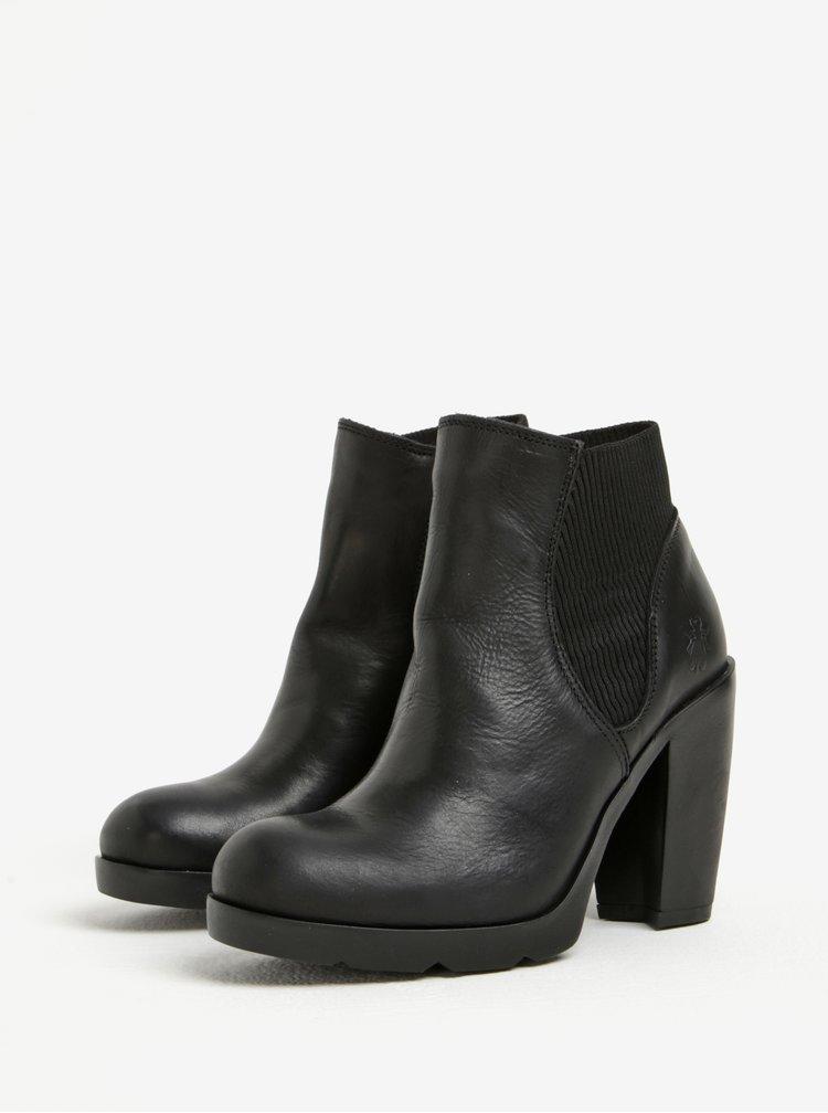 Černé dámské kožené chelsea boty na vysokém podpatku Fly London