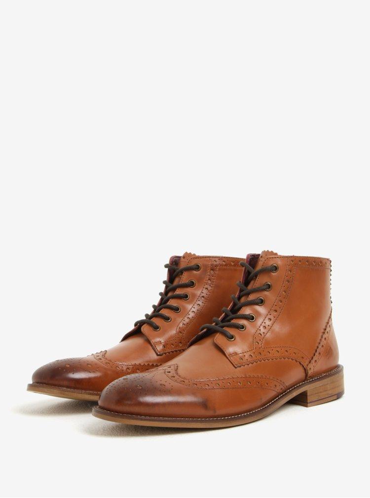 Hnědé pánské kožené kotníkové brogue boty London Brogues Gatsby High