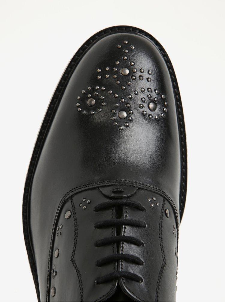 Černé pánské kožené polobotky s kovovými detaily London Brogues Brut Oxford