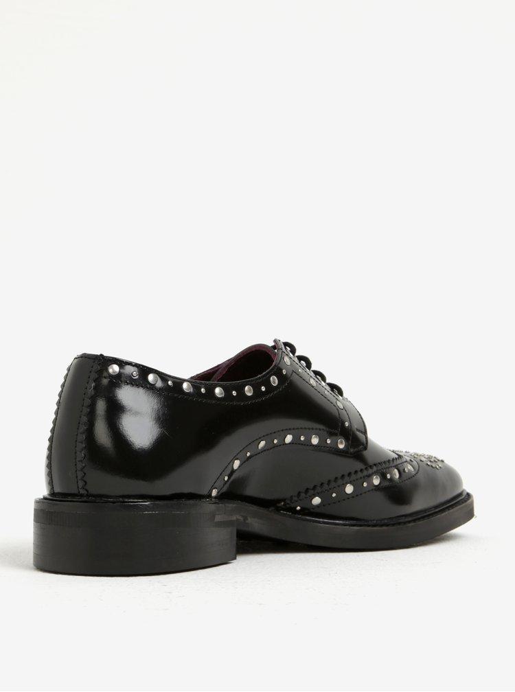 Černé pánské kožené boty s kovovými detaily London Brogues Brut Derby
