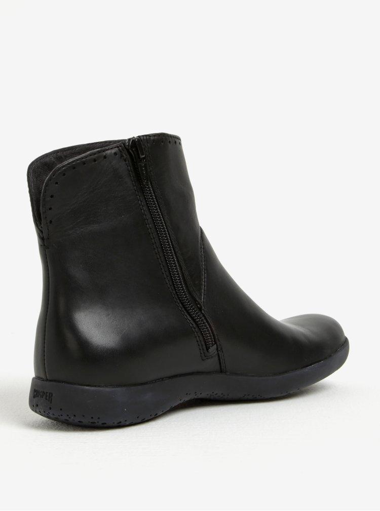 Černé dámské kožené kotníkové boty Camper Supersoft
