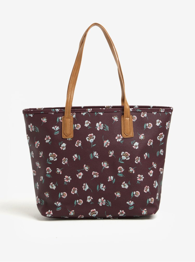 Geanta shopper bordo cu model floral Brakeburn