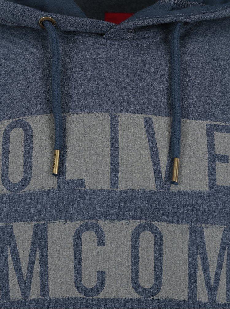 Tmavě modrá pánská žíhaná mikina s kapucí s.Oliver