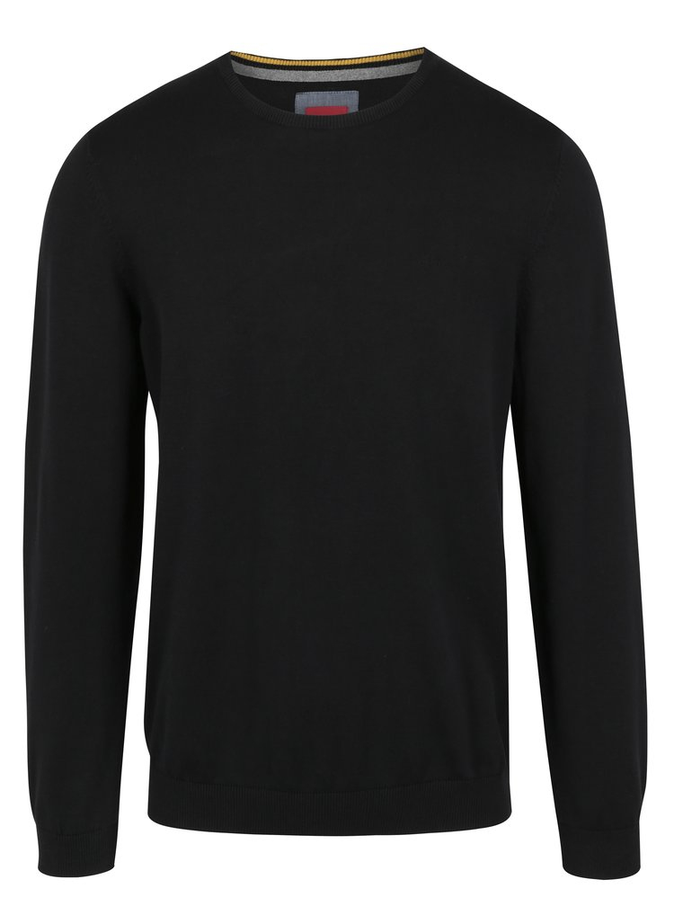 Černý pánský svetr s kulatým výstřihem s.Oliver