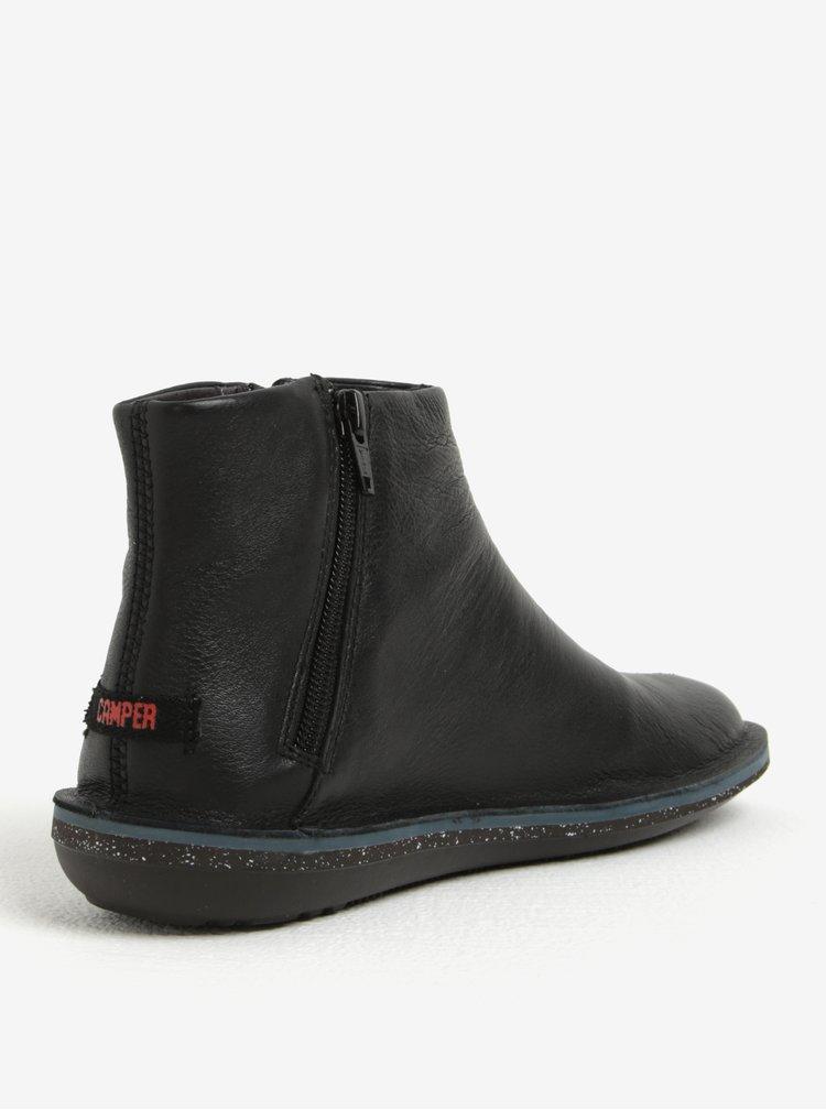 Černé dámské kožené kotníkové boty se zipem Camper Muffler