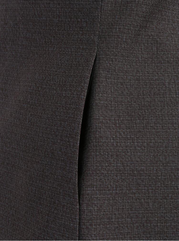 Šedo-hnědá žíhaná vlněná vesta s příměsí hedvábí La femme MiMi