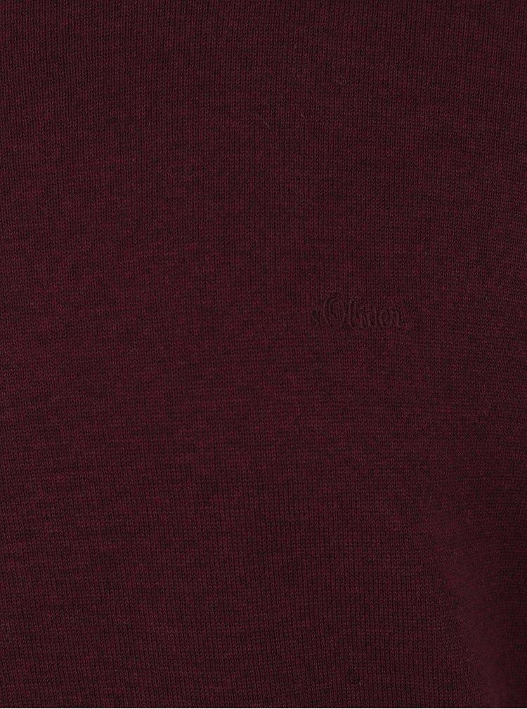 Vínový pánský svetr s véčkovým výstřihem s.Oliver