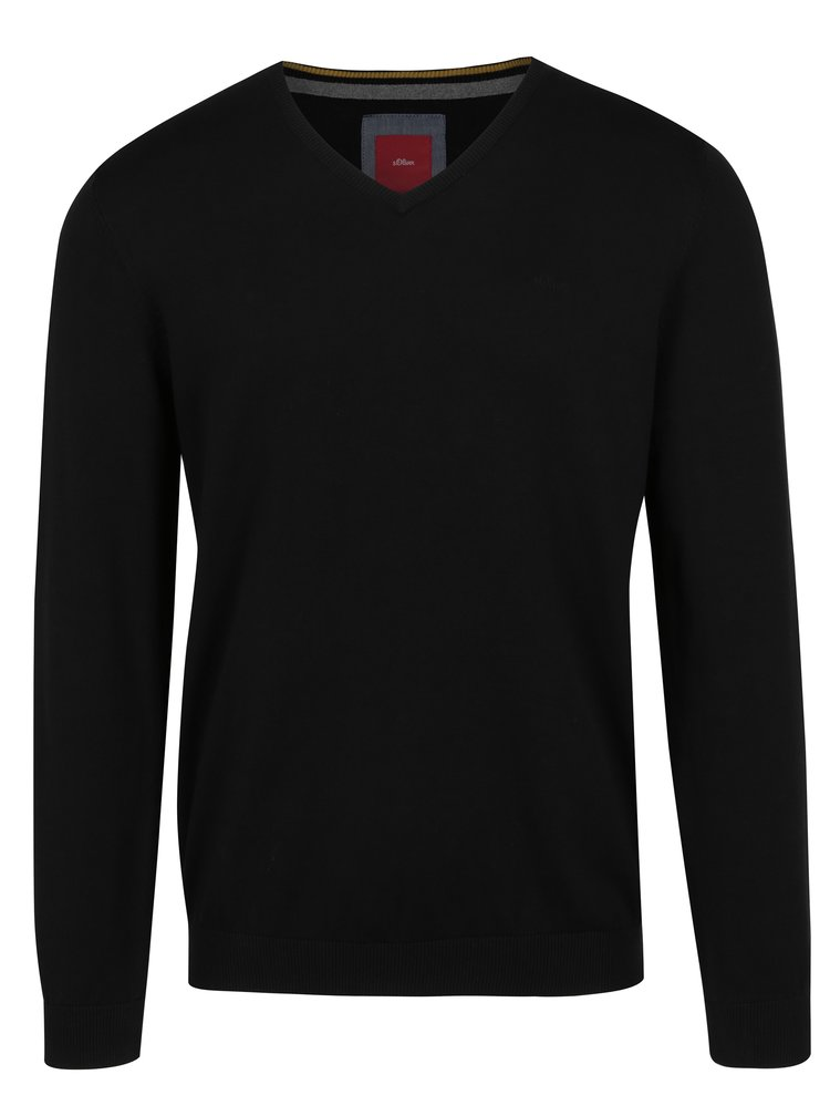 Černý pánský svetr s véčkovým výstřihem s.Oliver