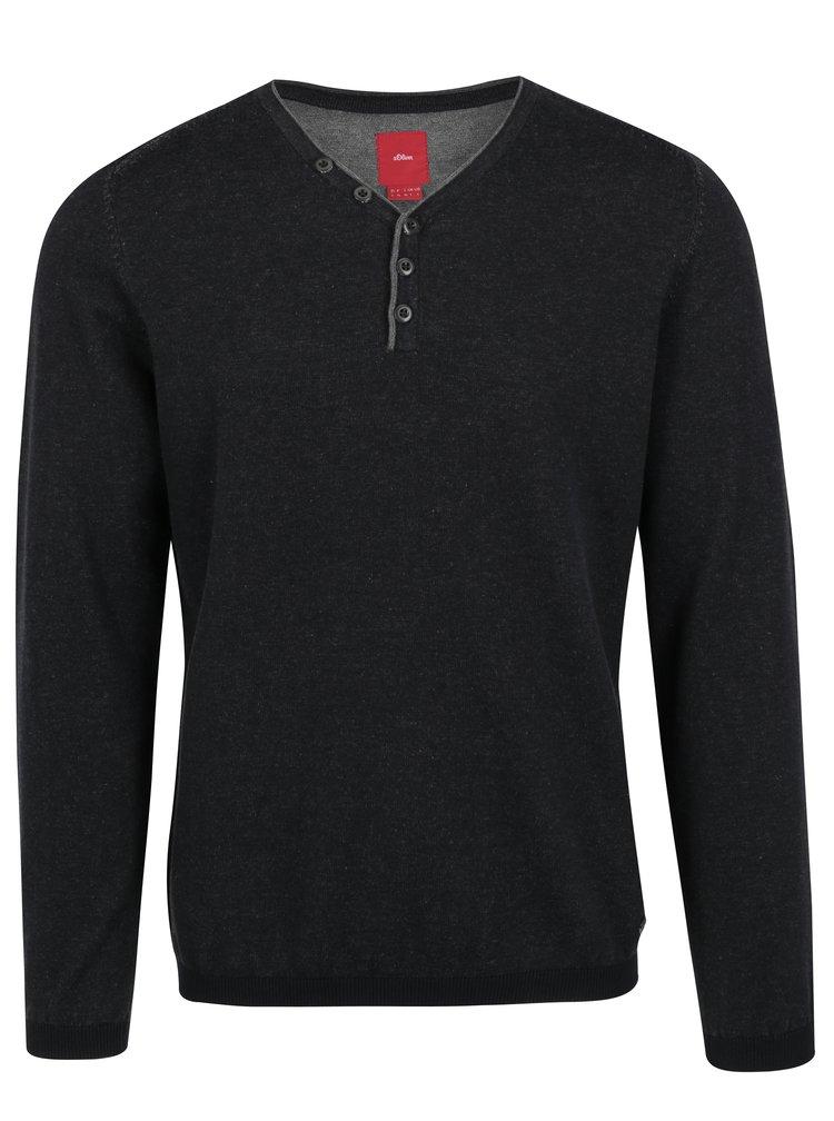 Tmavě šedý pánský žíhaný svetr s knoflíky s.Oliver