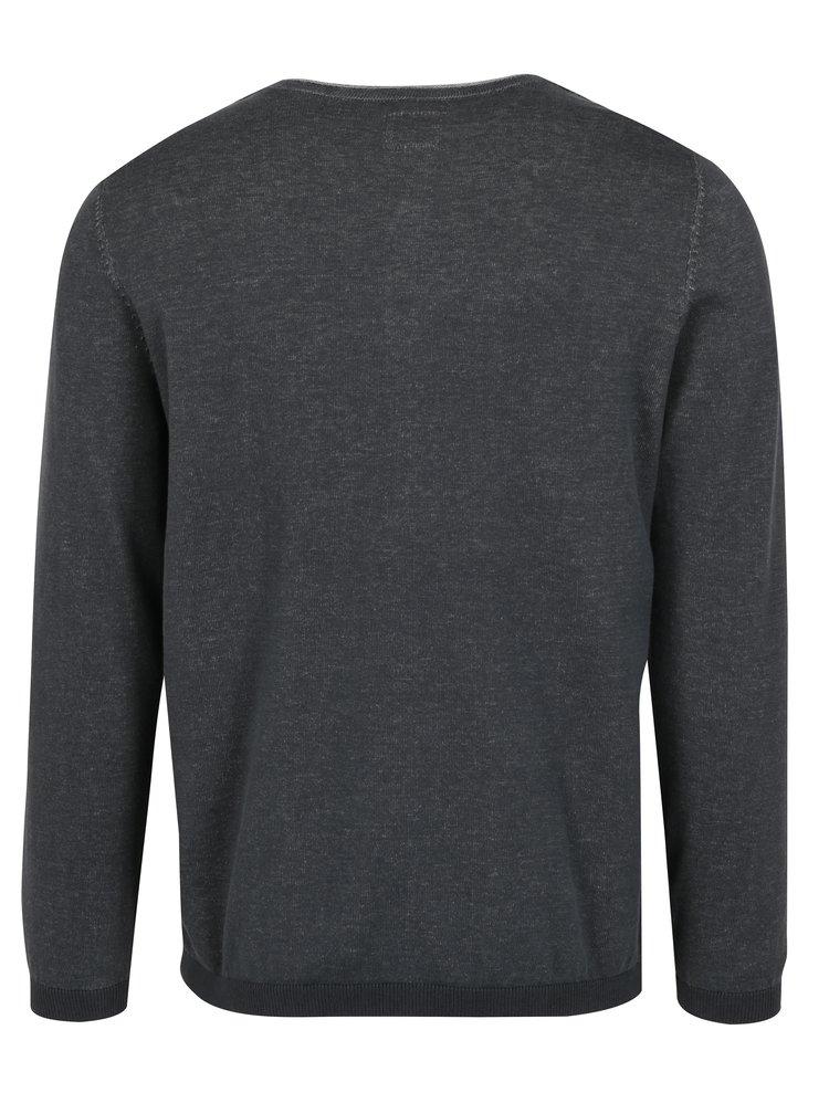 Šedý pánský žíhaný svetr s knoflíčky s.Oliver