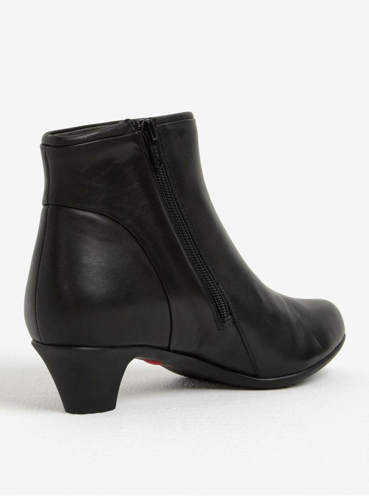 Černé dámské kožené kotníkové boty na podpatku Camper Nappa
