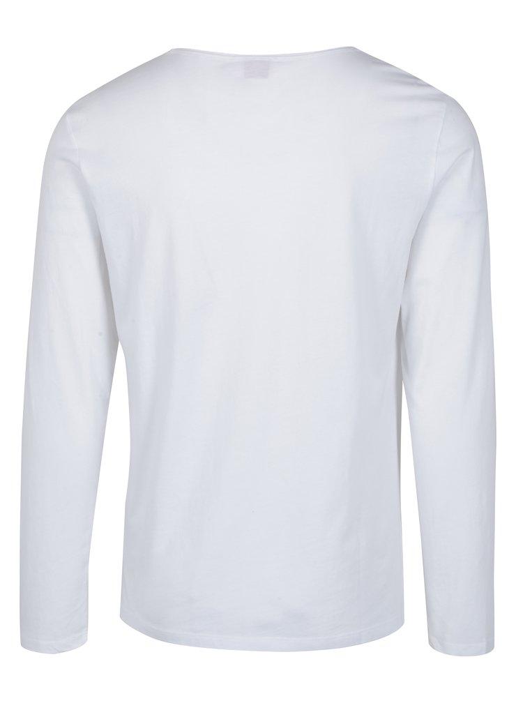 Bílé pánské slim fit tričko s dlouhým rukávem s.Oliver