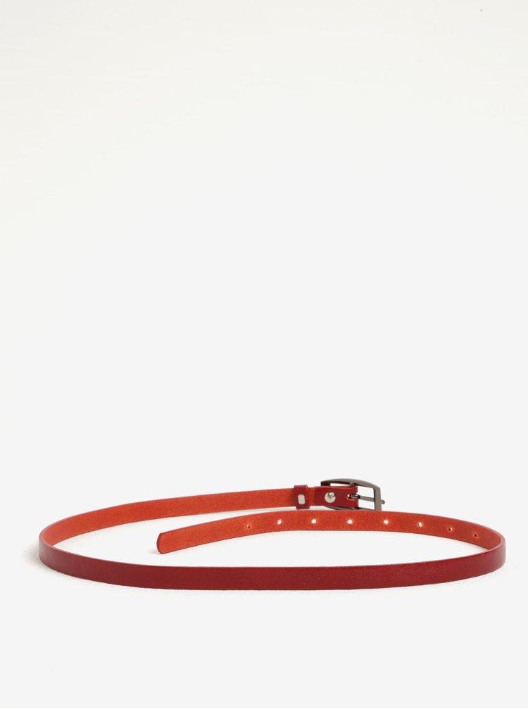 Červený dámský úzký kožený pásek KARA