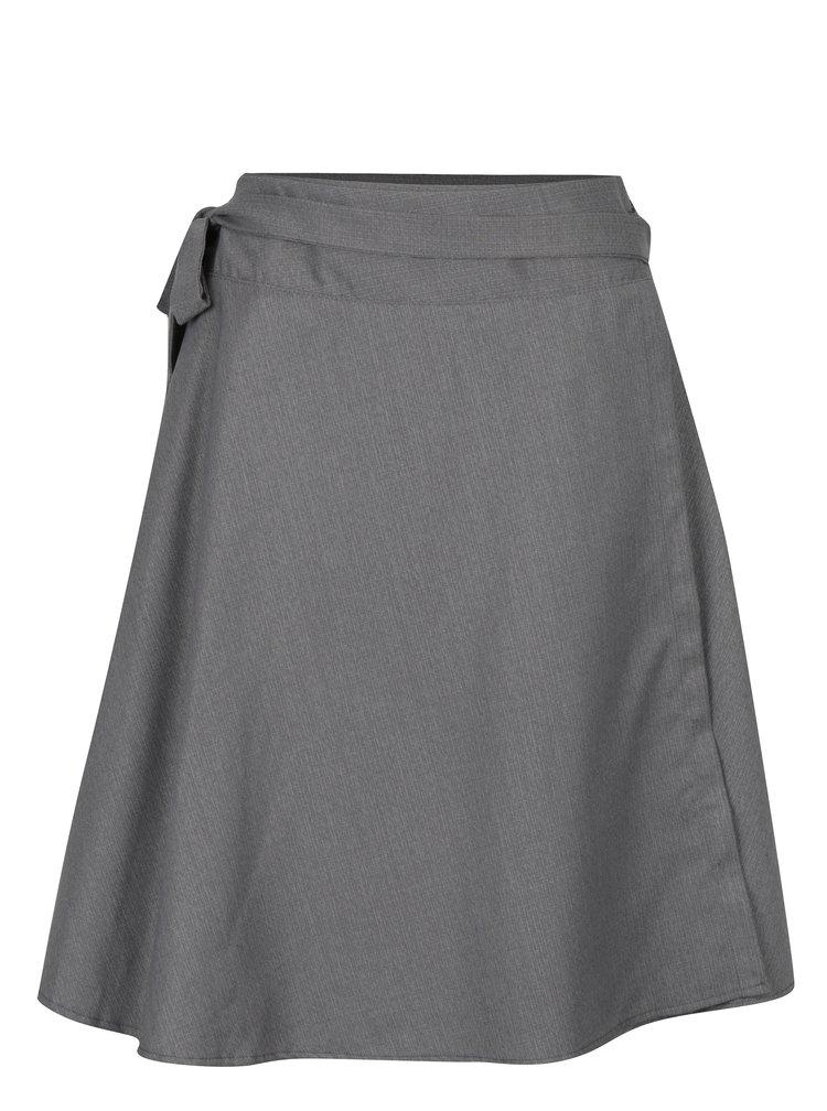 Šedá žíhaná zavinovací sukně s příměsí kašmíru La femme MiMi