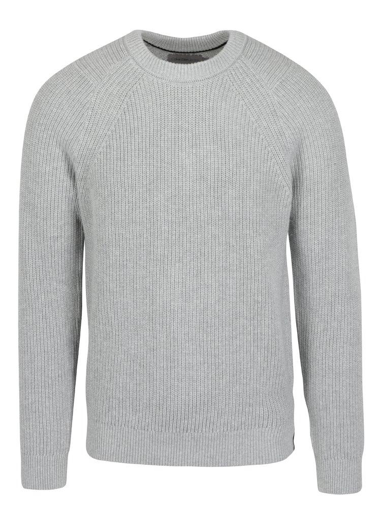 Světle šedý pánský svetr s příměsí vlny Calvin Klein Jeans Spotton