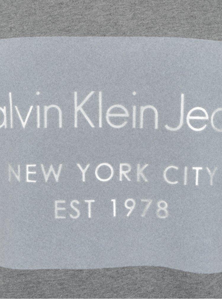 Šedá pánská mikina s potiskem Calvin Klein Jeans Hayto