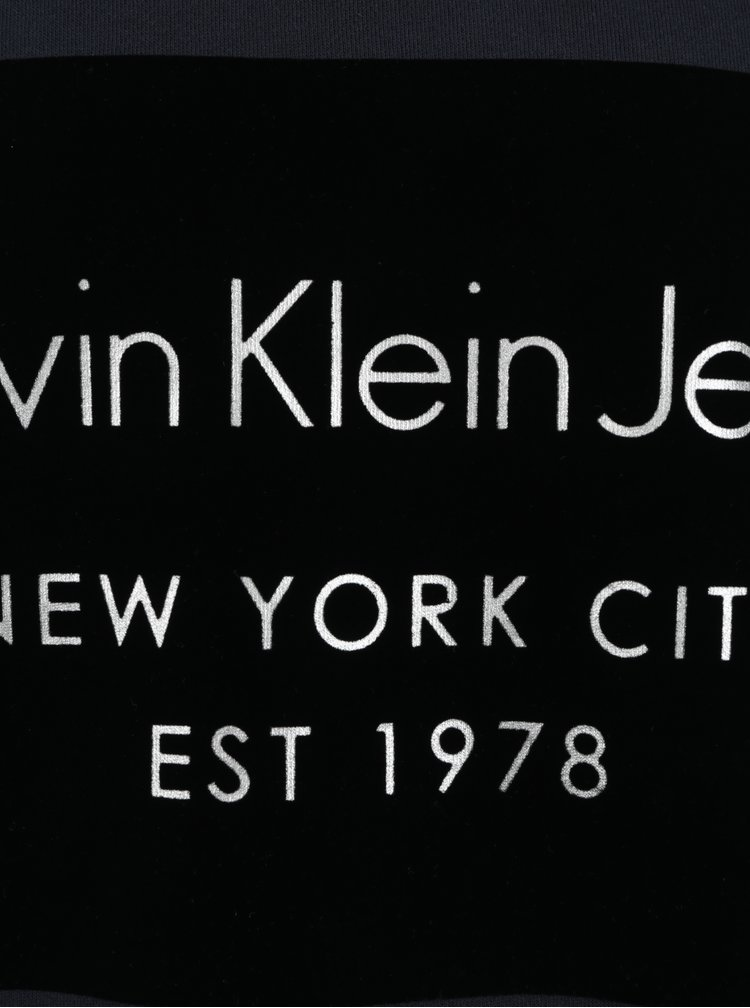 Tmavě modrá pánská mikina s potiskem Calvin Klein Jeans Hayto