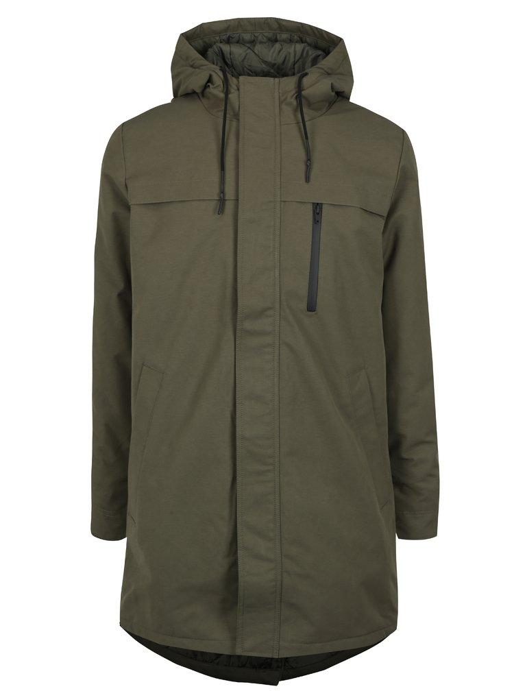 Khaki pánský zimní kabát s kapucí RVLT