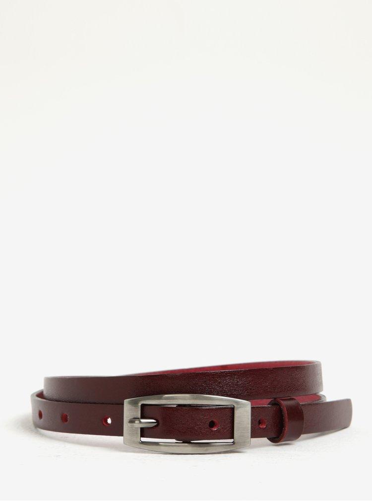 Vínový dámský úzký kožený pásek KARA