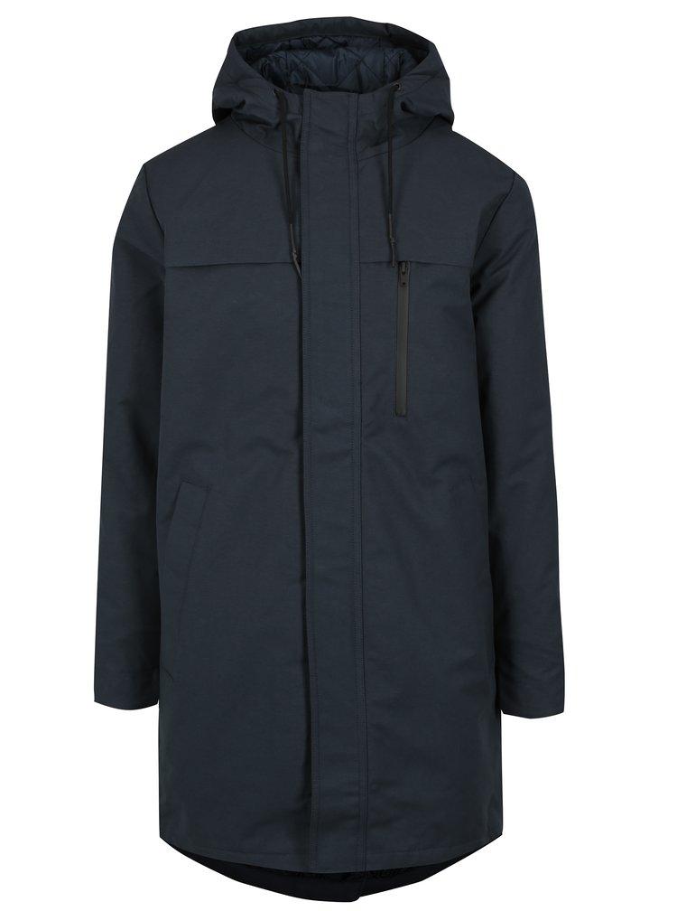 Tmavě modrý pánský zimní kabát s kapucí RVLT