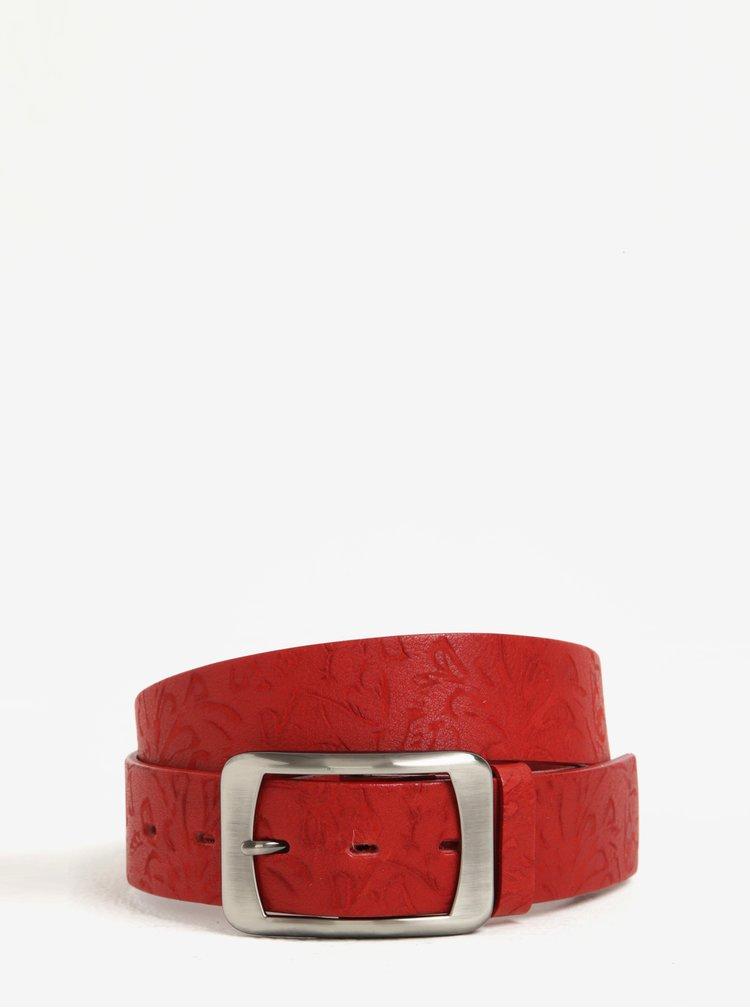 Červený dámský vzorovaný kožený pásek KARA