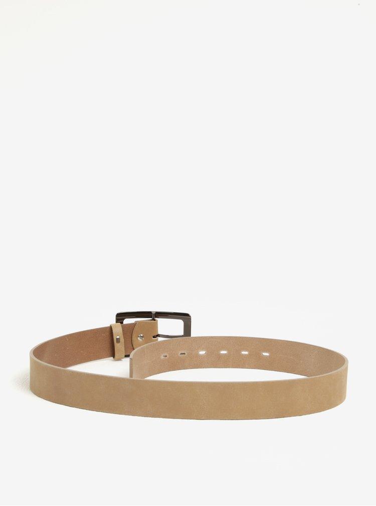 Béžový dámský kožený pásek KARA