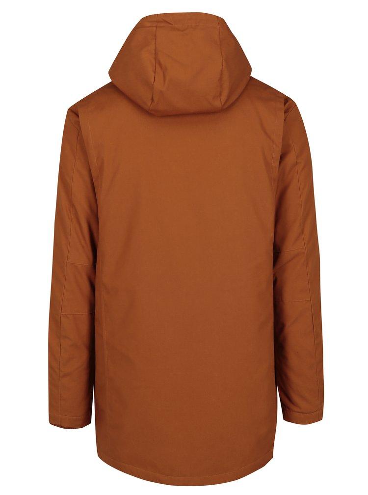 Oranžová pánská zimní bunda s kapsami RVLT