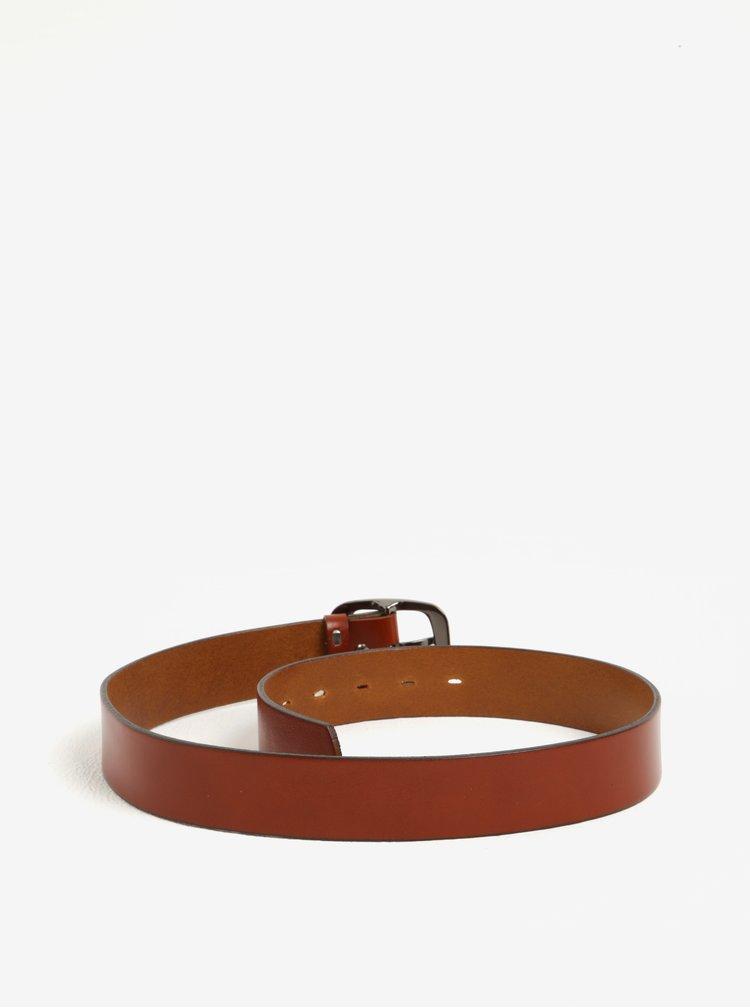 Cihlový dámský kožený pásek KARA