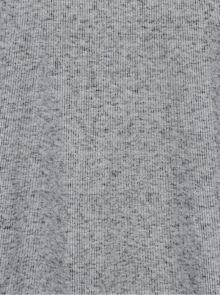 Světle šedá žíhaná unisex mikina s nášivkou retro lidí na zádech La femme MiMi Teta Věra no.5