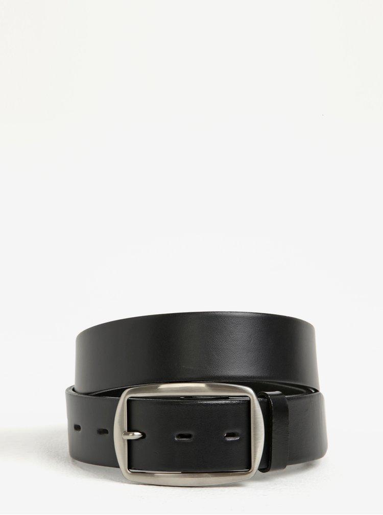 Černý dámský kožený pásek se stříbrnou přezkou KARA