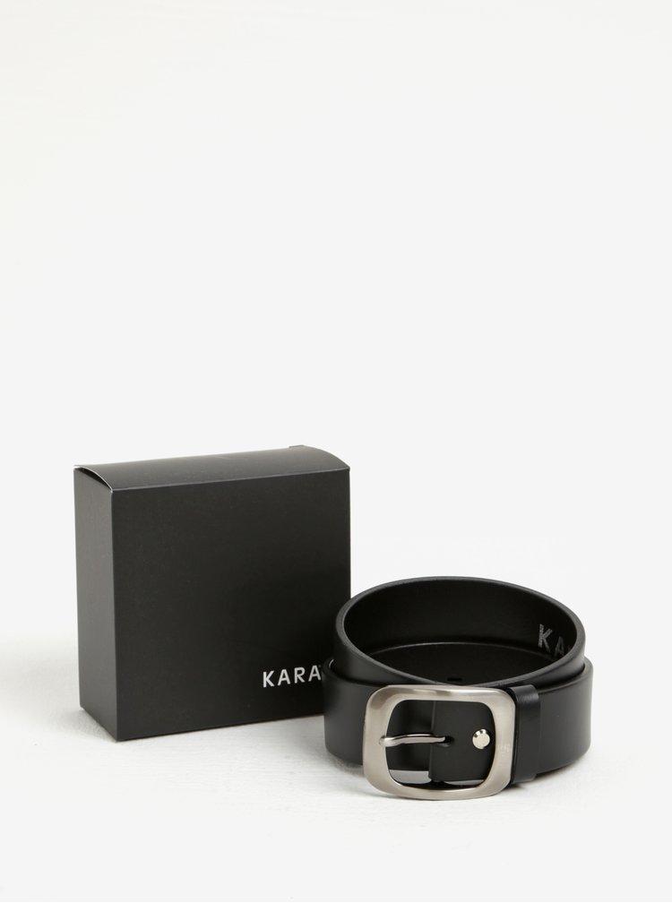 Černý dámský kožený pásek s přezkou ve stříbrné barvě KARA